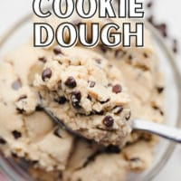 pinterest image of a spoon taking a scoop of chocolate chip cookie dough out of a glass bowl