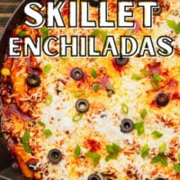 image with text overlay for vegan skillet enchiladas