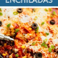 pin image with text box for vegan enchiladas in a skillet