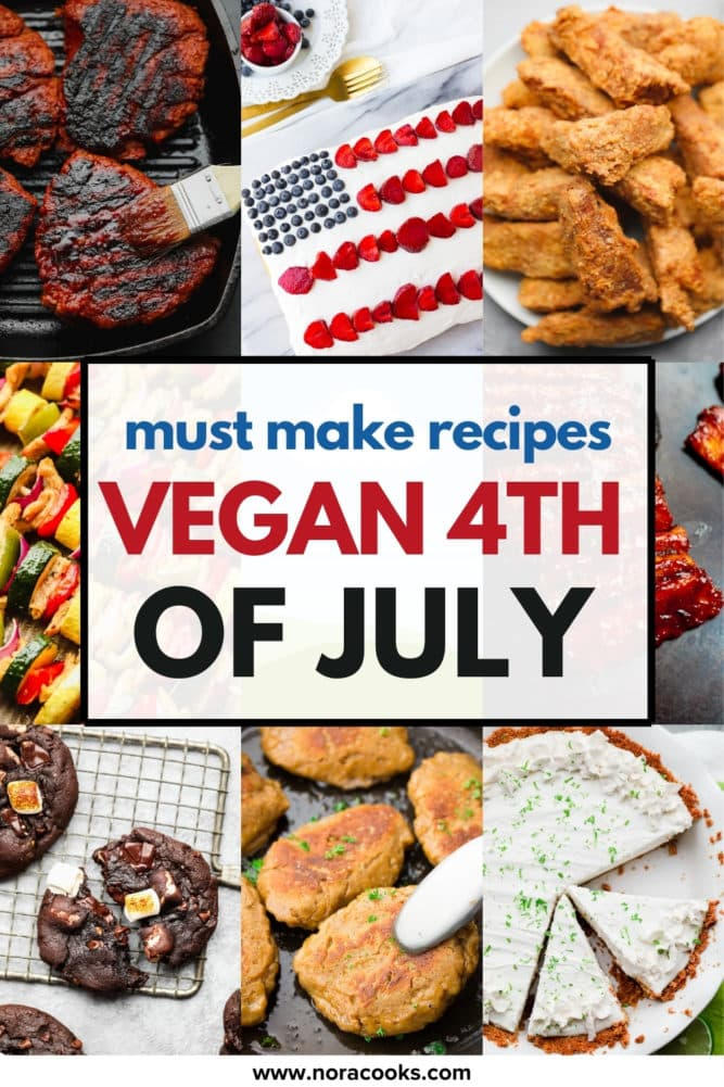 vegan 4th of july pinterest collage with text