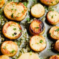 close up on cooked vegan scallops