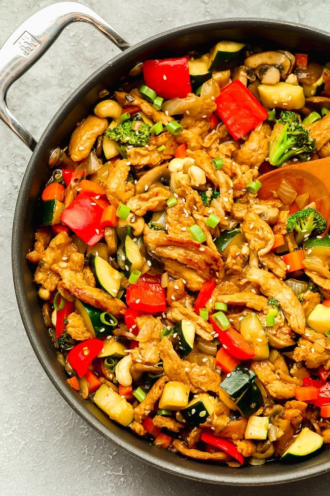 large skillet with cooked vegetable stir fry