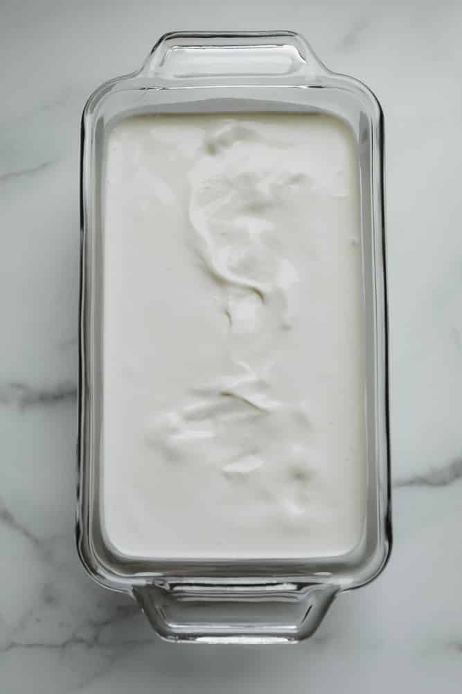 loaf pan filled with a white mixture