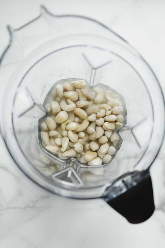 soaked cashews in a blender with water