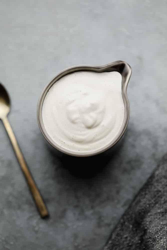 dark grey small pitcher with white cream
