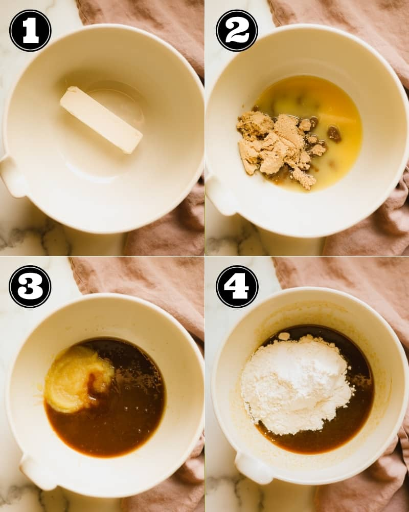 4 images showing the process of making blondie batter