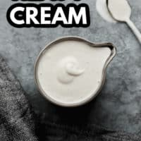 Pinterest image with text overlay for vegan heavy cream