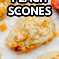 pinterest image of a baked peach scone with a white glaze on top