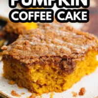 pinterest image of a close up on a square slice of orange pumpkin coffee cake on a white plate.