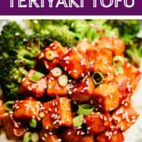 pinterest image of brown saucy tofu on a plate with white rice and broccoli