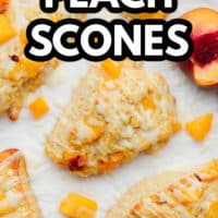 pinterest image of baked peach scones next to sliced and cubed peaches