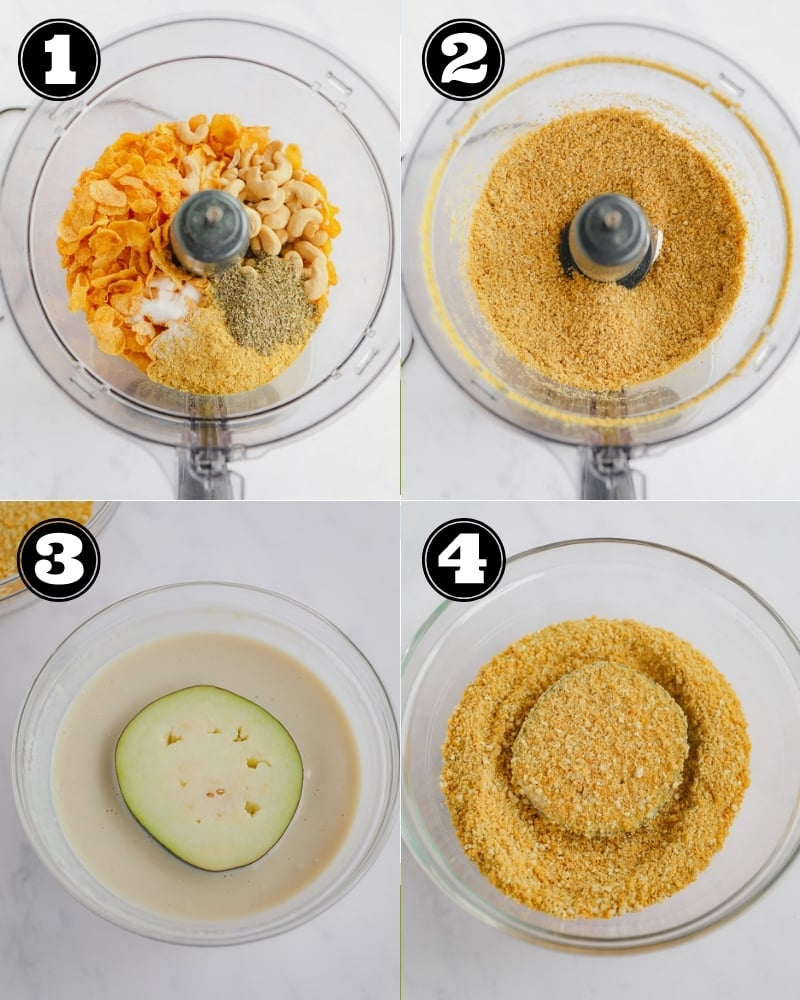 4 images showing how to blend a crumb coating together and dipping a slice of eggplant in the crumbs.