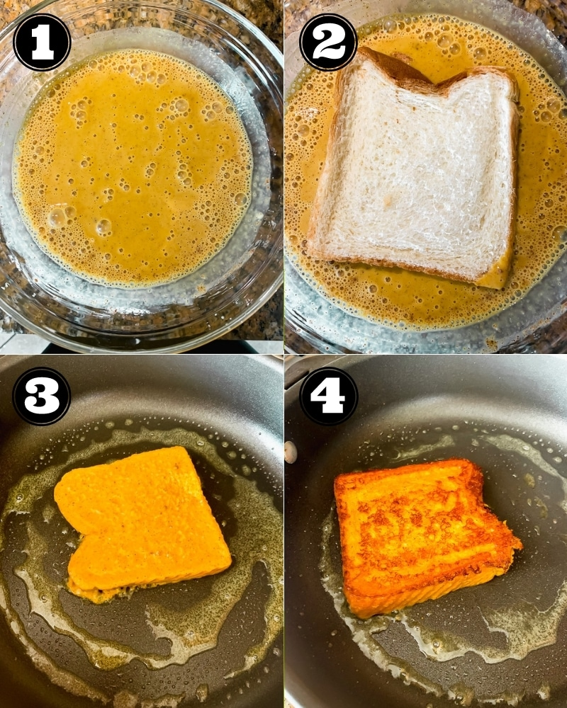 4 images showing the process of coating a slice of bread in an orange batter and frying it in a black pan.
