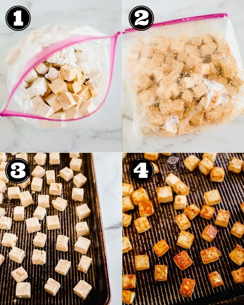 4 images showing the process of baking seasoned tofu cubes