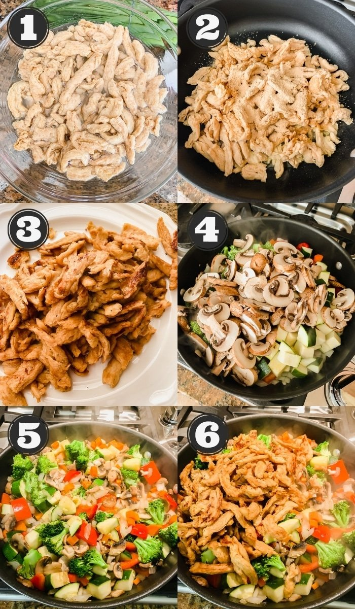 6 images showing the steps to making stir fry in a black skillet