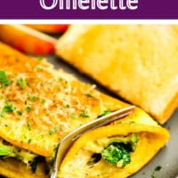 pinterest image of a fork cutting into a cooked omelette on a grey plate