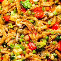 large platter with cooked stir fry veggies and soy curls
