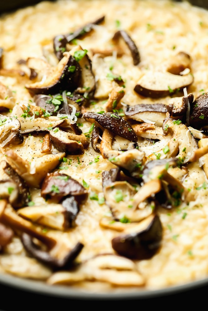 Close up on cooked mushrooms on top of creamy yellow risotto.