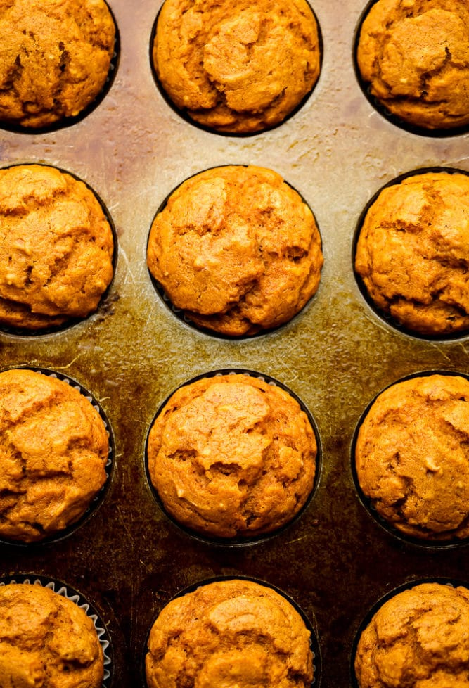 cooked muffins in a pan with liners