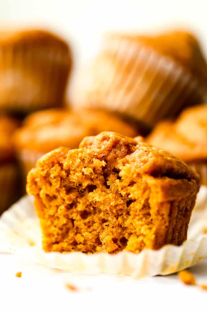 cut muffin showing texture inside