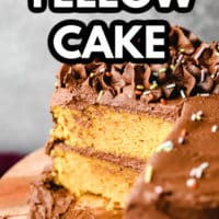 pinterest image of yellow cake with chocolate frosting with slices missing on a wood board.