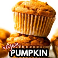 pinterest image with text for pumpkin muffins