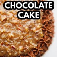 pinterest image of a frosted chocolate cake with a pecan caramel sauce on top.