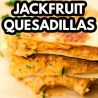 pinterest image of buffalo jackfruit quesadillas