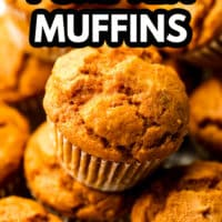pinterest image with text overlay for vegan muffins, pumpkin flavored