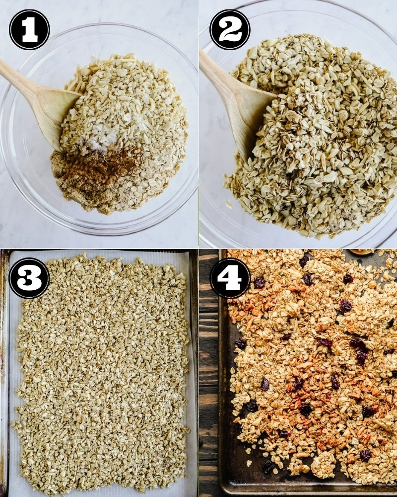4 images showing the process of mixing and baking granola.