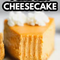 pinterest image of a slice of pumpkin cheesecake with a bite missing.