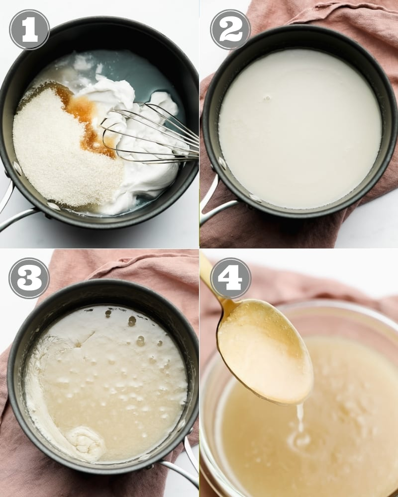 4 images showing the process of making vegan condensed milk in a black pot.