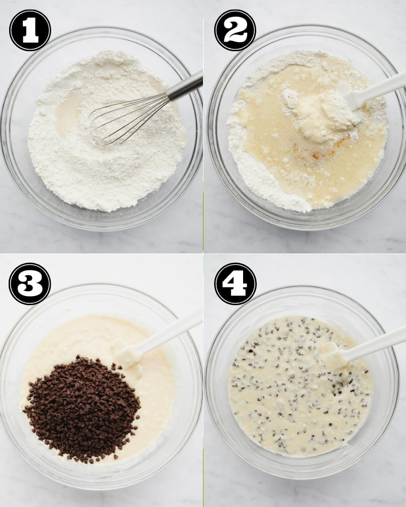 4 images showing the process of mixing a white chocolate chip batter in a glass bowl.